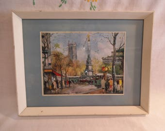 Small Retro Parisian Print by Fernand Clavey - c. 1960's