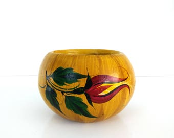 Vintage Mexican Planter / Large 11 inch clay planter / Handpainted Folk Art