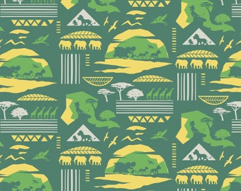 Disney Fabric: Camelot Disney The Lion Guard CHARACTERS Savannah in Sage/Green    100% cotton fabric by the yard (CA732)