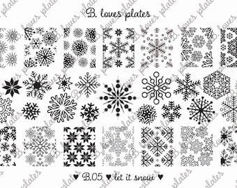 B.05 - let it snow - nail stamping plates (B. Loves Plates )