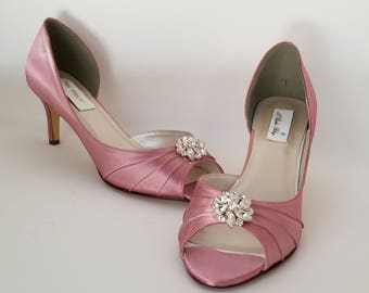 Dusty Rose Bridal Shoes Dusty Rose Wedding Shoes with Crystal Swirl Flower or PICK FROM 100 COLORS Dusty Rose Bridesmaid Shoes