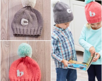 Monogrammed Pom Pom Beanie, personalized beanie, knitted Pom Pom beanie, kids monogram beanie, custom sizes and colors, made to order
