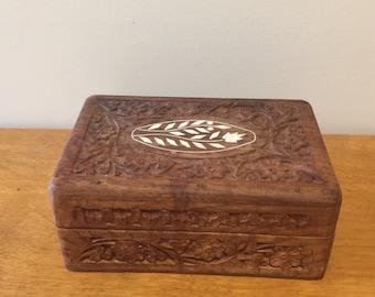 Carved wooden jewelry box, trinket box, vintage jewelry box