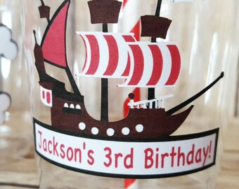12 Personalized Pirate Themed Party Cups with Straws and Lids