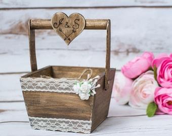 Rustic Wedding Ring Pillow Rustic Alternative Ring Pillow Ring Box Bearer Country Wedding Basket Ring Box Burlap Cushion