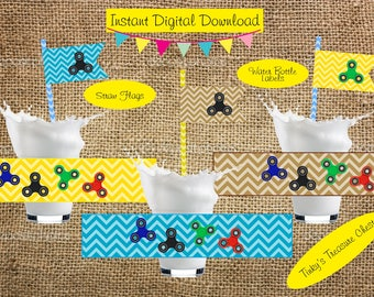 Digital Fidget Spinner  Water Bottle Labels and Straw Flags. Instant Download. Party Table Decorations. JPG. Birthday Party. Spinner. Boys.