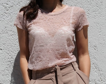 Vintage blush pink see-through floral lace blouse,top.size s