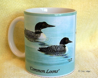 MUGS, Common Loons Mug, Coffee Mug, Tea  Mug, Loons Decor, Bird Decor, Ellen Strope, Birds, Bird decor, 11 oz mugs