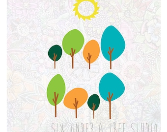 Sunny Forest Wall Vinyl Decals Art Graphics Stickers