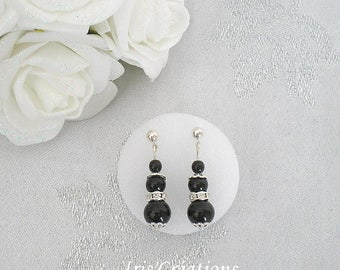 Amalia black and rhinestone earrings