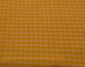 Fabric,  Lighter Weight Quilt Fabric, Lighter Weight Cotton Fabric, Dark Yellow Gingham Check, 1/8'' Check, 1 Yd 32''