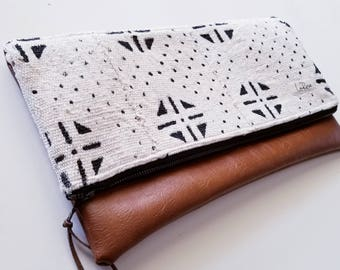 Large White Mudcloth Clutch, African Mud Cloth Bag, Vegan Leather Bag, Leather Clutch, Gifts for Her
