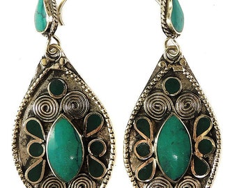 Earrings Silver Turquoise Insets Afghanistan 110614