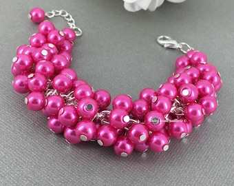 Bridesmaids Jewelry Hot Pink Pearl Cluster Bracelet Hot Pink Bracelet Bridesmaid Bracelet Hot Pink Cluster Bracelet Fuchsia Bracelet