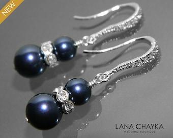 Navy Blue Pearl Silver Earrings Swarovski Night Blue Pearl Wedding Earrings Dark Blue Pearl Dangle Bridesmaid Earrings Weddings Navy Blue