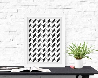 Geometric Design Light & Dark Chevron 8x10 inch Poster Print - P1210