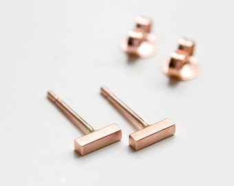 14K Rose Gold Bar Stud Earrings - Tiny Minimalist 14 Kt Square Rose Gold Stud Earrings - Blush Pink Gold Studs - Nickel Free -Handmade in NY