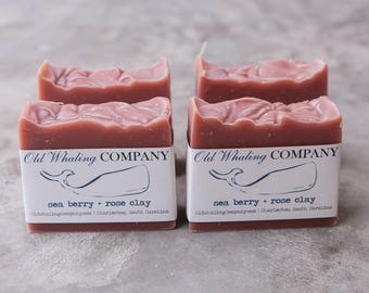 Wife Gift  || FOUR Seaberry + Rose Clay Bar Soap || natural handmade bar soap / cold process bar soap / gifts for her