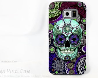 Purple Paisley Sugar Skull Case for Samsung Galaxy S6 - TOUGH dual layer S 6 Case with Day of The Dead Art by Da Vinci Case