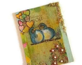 Blue Bird Collage, Mixed Media Bird, Happy Art, Painting on Tea Bag, Tea Bag Art, Collage Art, Original Mixed Media, Blue Bird, Bird Collage
