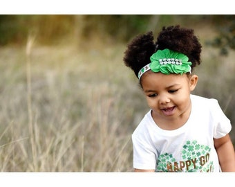 St Patricks Day green bling clover headband
