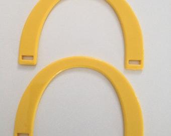 X 2 bag handles half circle resin Buttercup yellow