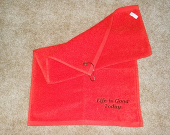 """Pocket Workout Sweat Towel """"Life is Good Today"""""""