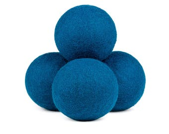 Natural Wool Dryer Balls - Deep Blue, 100% Wool, Natural Vegetable-Based Dyes, Chemical-Free, Multiple Pack Sizes Available