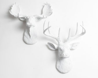 White Faux Taxidermy Minis Gift Set - Faux Animal Decor - White Deer + Moose Head Wall Art - Resin Animal Heads & Wall Decor by WFT