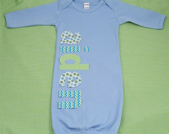 Hand Appliqued Personalized Infant Baby Boy Blue Gown