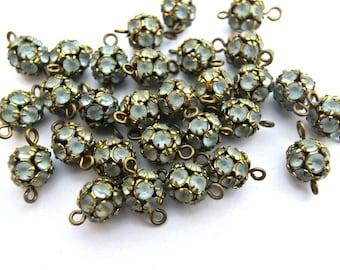 2 Vintage Swarovski connector ball BEADS crystal 8mm blue rhinestones in brass setting