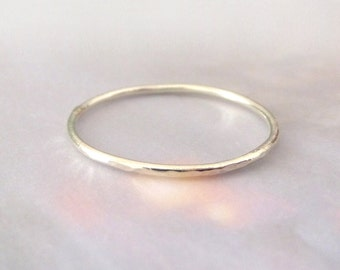 Solid Thin 9ct White Gold Ring - Hammered Polished Surface