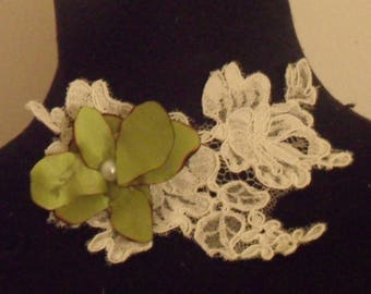 Wedding lace ivory Orchid Necklace