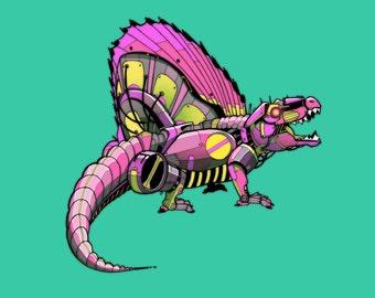 Dimetrodon Robosaur art print 8x10
