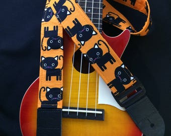 Ukulele strap, mandolin strap or child guitar strap // black cats with orange background // black cat ukulele strap // musician gift
