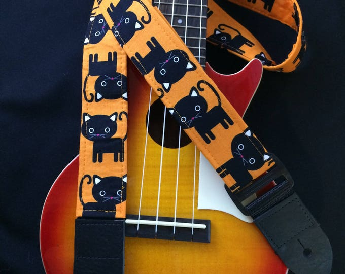 Ukulele strap, mandolin strap or child guitar strap // black cats with orange background // black cat ukulele strap // musician gift