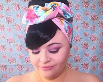 Doubke Sided Wired Hair Scarf - Tropical Gelato (with polka dots)