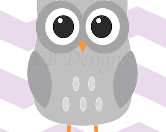 Purple and Gray Nursery, Purple Owl Decor,  Owl Nursery Art, Girl's Owl Nursery, Girl's Woodland Nursery Decor - 8x10