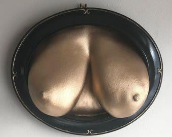 Two More - Erotic Art Sculpture Female Lifecast Breast Gold