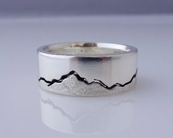 Olympics Mountain Ring, 8mm band, Northwest Ring, Handcrafted recycled with Silver, Gold, Palladium & Platinum, Northwest Mountain Ring