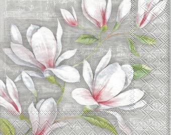 4 Paper napkins for decoupage, Musical Magnolia Fleurs decoupage napkins, collage and mix media paper, Floral serviette, decoupage g381