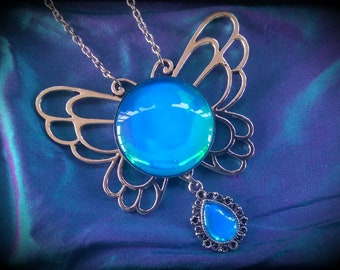 Aqua Gem Butterfly Wings Victorian Necklace, Handmade Glass Opalite Neon Pink, Renaissance Necklace, Color-Shift, Sailor Moon Inspired