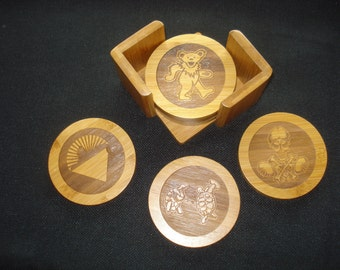 GRATEFUL DEAD Coaster Set - Set of 6 coasters with Caddy. Great gift for a Deadhead. Christmas Gift for Him or Her