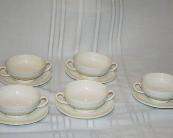 Vintage Wedgewood EDME Footed Cream Soup Bowls and Saucers Set of 5