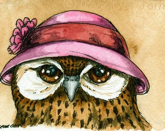 The Laughing Owl~~ No 5 of 100 series- ~ signed watercolor print