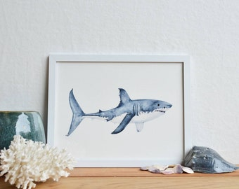 "Great white shark giclee/Shark decor/Ocean art/Beach wall art/Nautical decor/Sea watercolor/Marine biology gift/8.5""x11"" watercolor print"