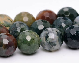 """8MM Faceted Indian Agate Natural Gemstone Full Strand Round Loose Beads 15"""" (100759-323)"""