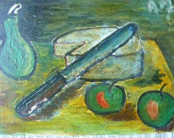 Still life french oil painting panel 1960 green shades  two apples pear knif french cheese camembert on a table vintage kitchen decor