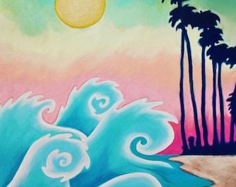 Waves on Waikiki Print (Peaceful Hawaii Pastel Sunset Seascape Drawing in Navy, Aqua and Rainbow Pastel Hawaiian Islands)
