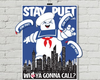 "Ghost-buster Game ""Pin the Hat on Stay Puft Marshmallow Man"" Game, Ghost-buster Party Game 